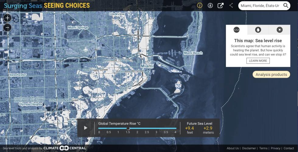 Miami carte climatechange 1,5 degré
