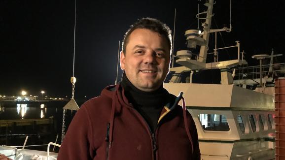 Nicolas Margollé, patron du chalutier Nicolas et Jérémy à Boulogne-sur-Mer, le 27 février 2019. (NOEMIE BONNIN : RADIO FRANCE)