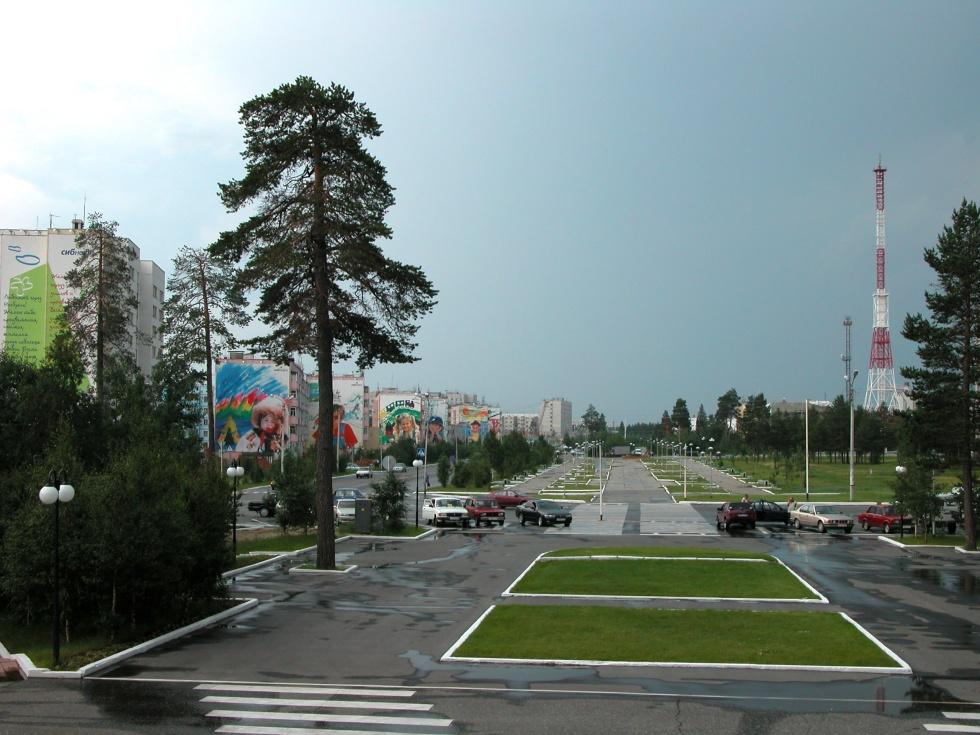 a rue Lénine à Noïabrsk, cliché Yvette Vaguet, 2010
