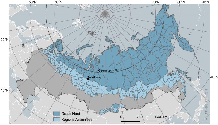 Carte Le Grand Nord russe et ses régions assimilées en 2016