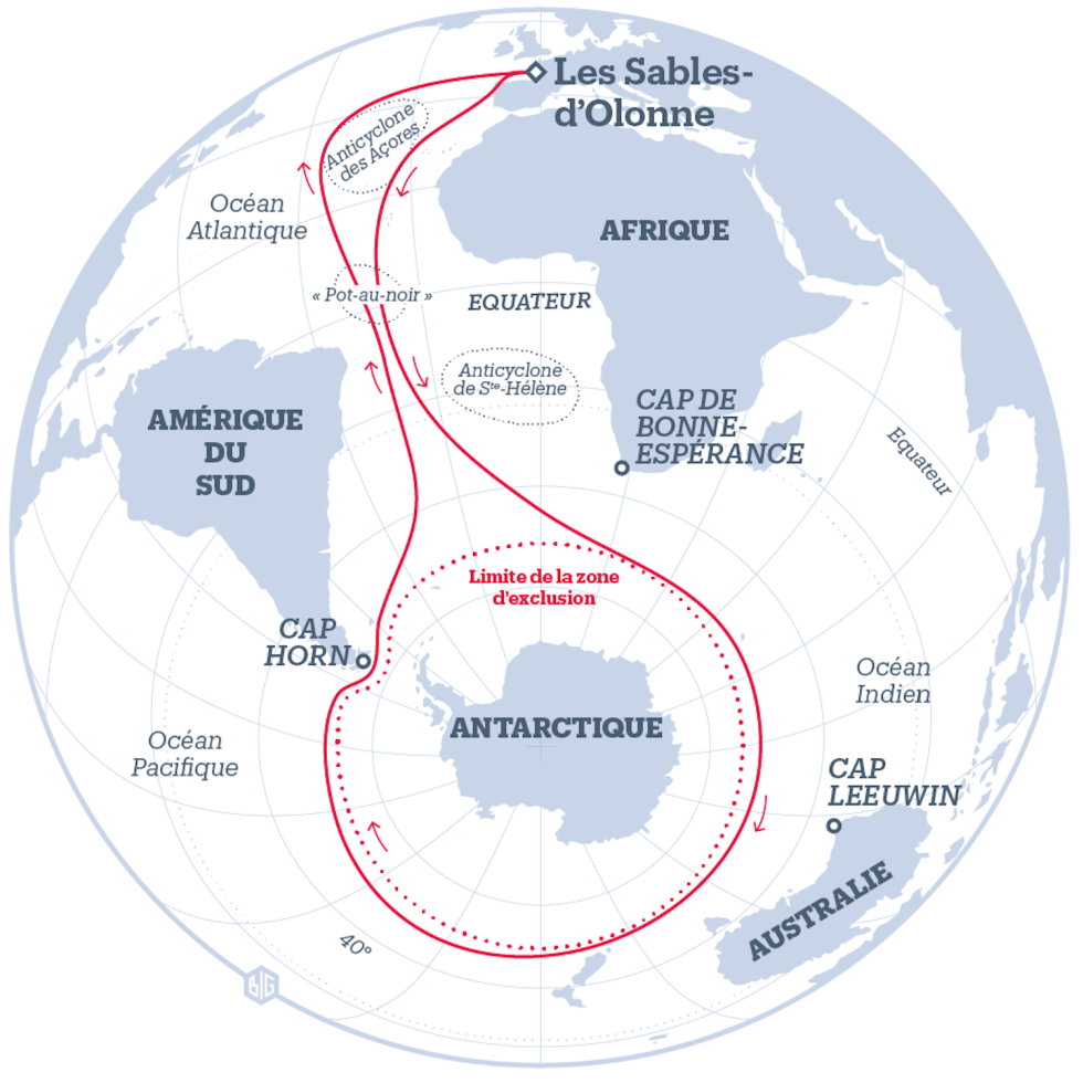 Le parcours théorique du Vendée Globe arte BiG Libération