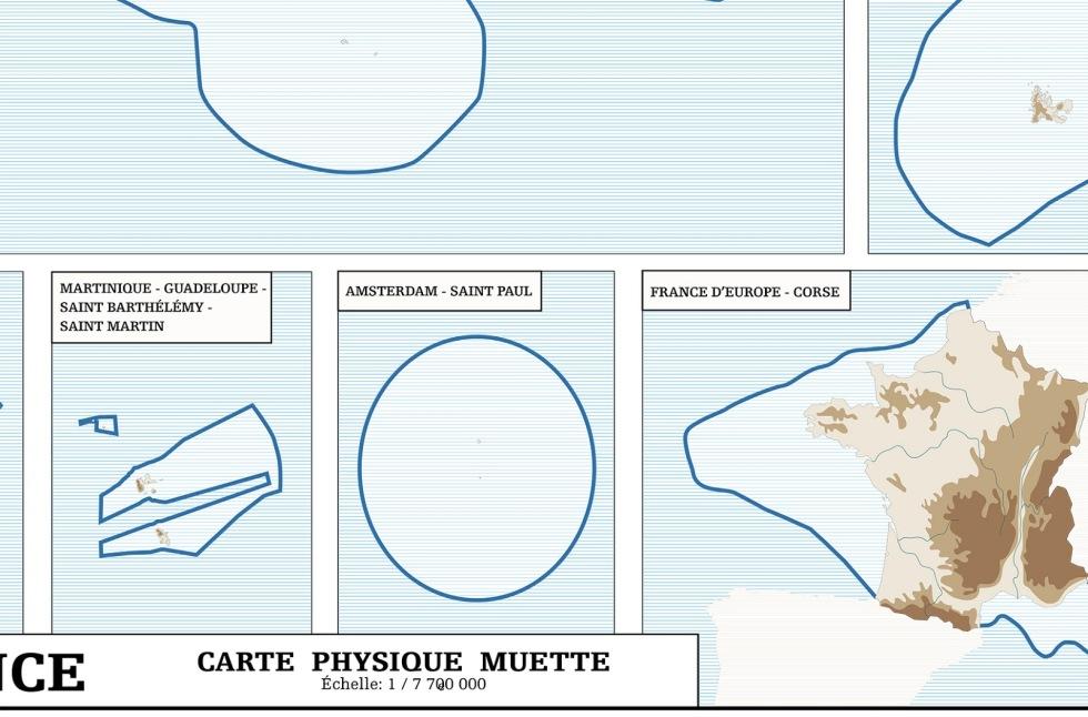 Julien Bousac France carte physique muette 2011 détail